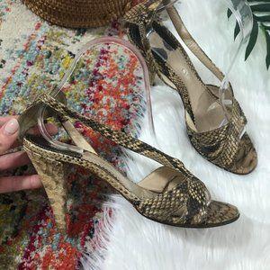 Chloe Snake Print Open Toe Heeled Sandals
